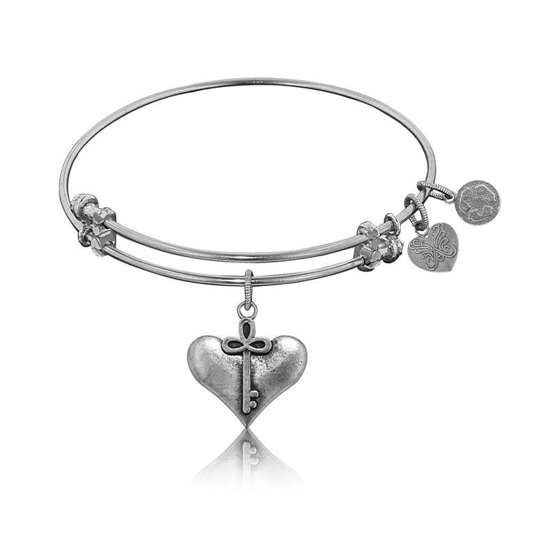Cherish Charm Bangle Bracelet in White Brass
