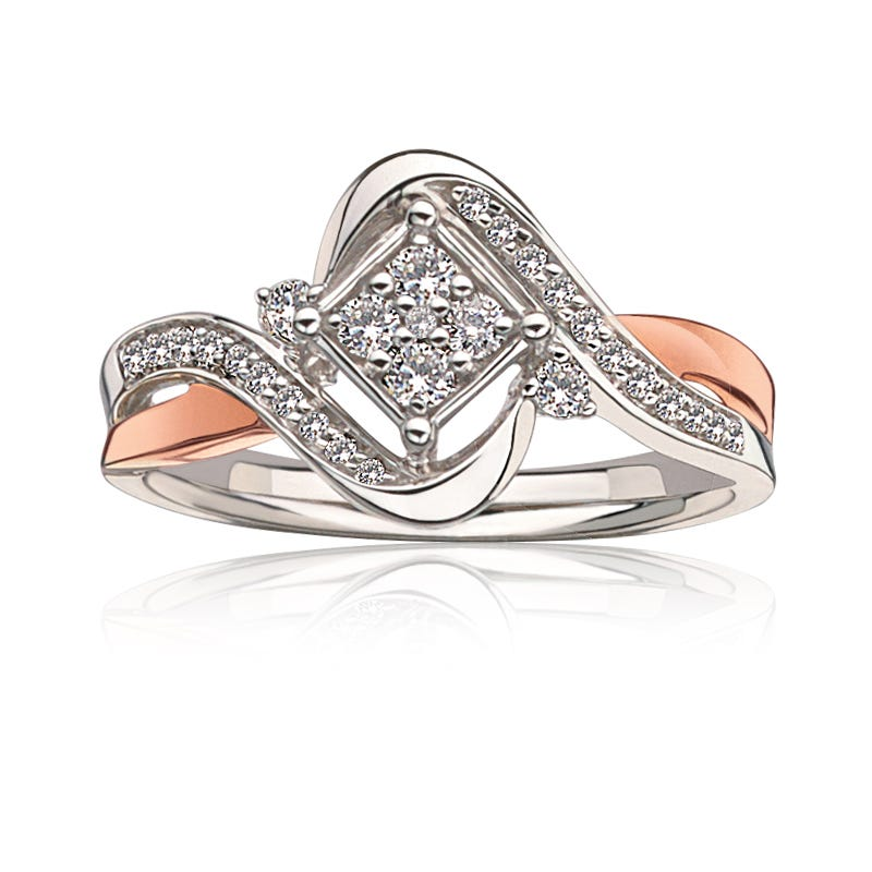 JK Crown® Diamond Bypass Ring in 10k White & Rose Gold