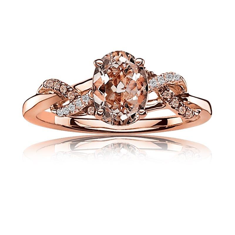 JK Crown® Oval Morganite Ring Champagne & White Diamonds in Rose Gold