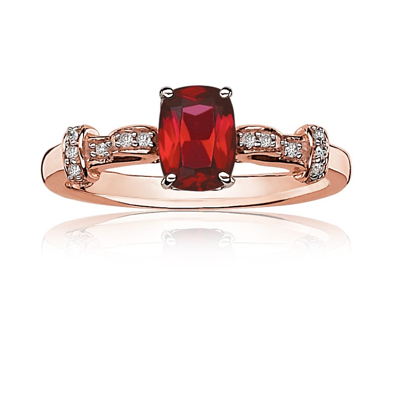 JK Crown® Garnet & Diamond Ring in 10k Rose Gold