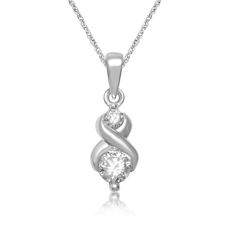 Crisscross  ¼ct. Diamond Pendant in 14k White Gold