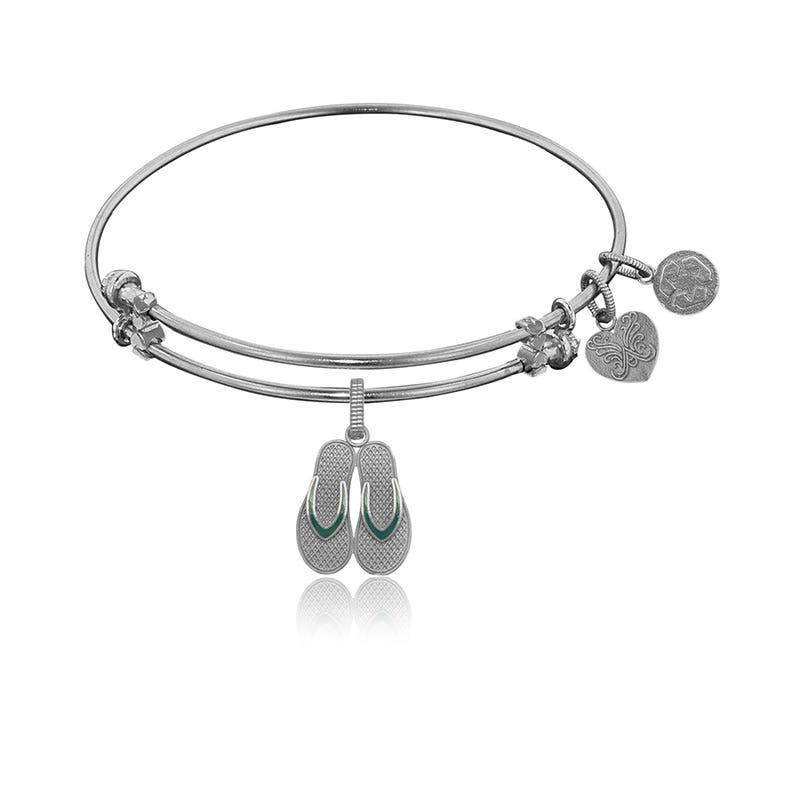 Flip Flop Charm Bangle Bracelet in White Brass