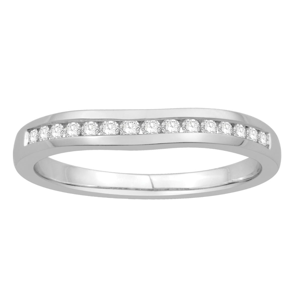 Round 1/10ctw. Channel-Set Contour Diamond Band in 14k White Gold
