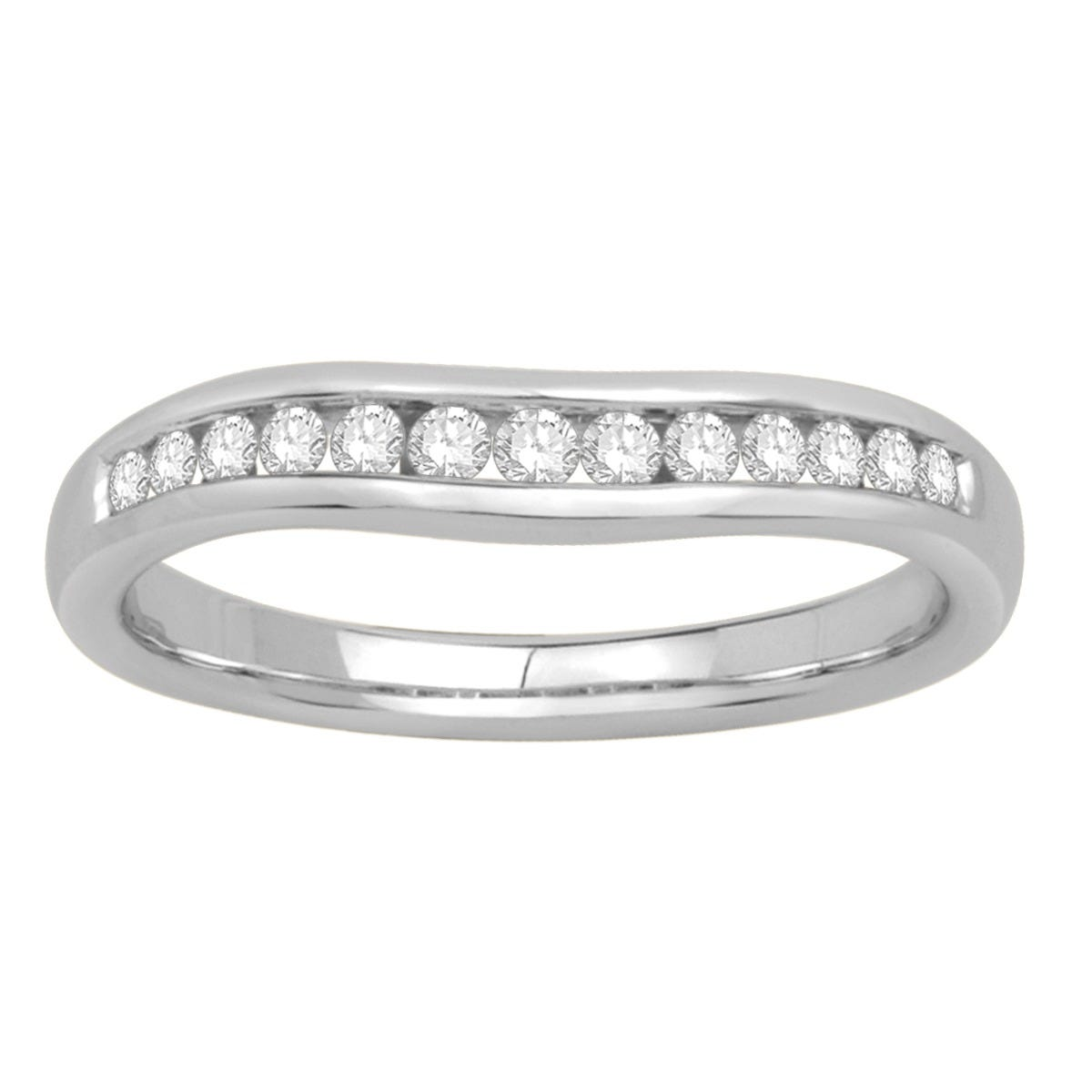 Round 1/4ctw. Channel-Set Contour Diamond Band in 14k White Gold