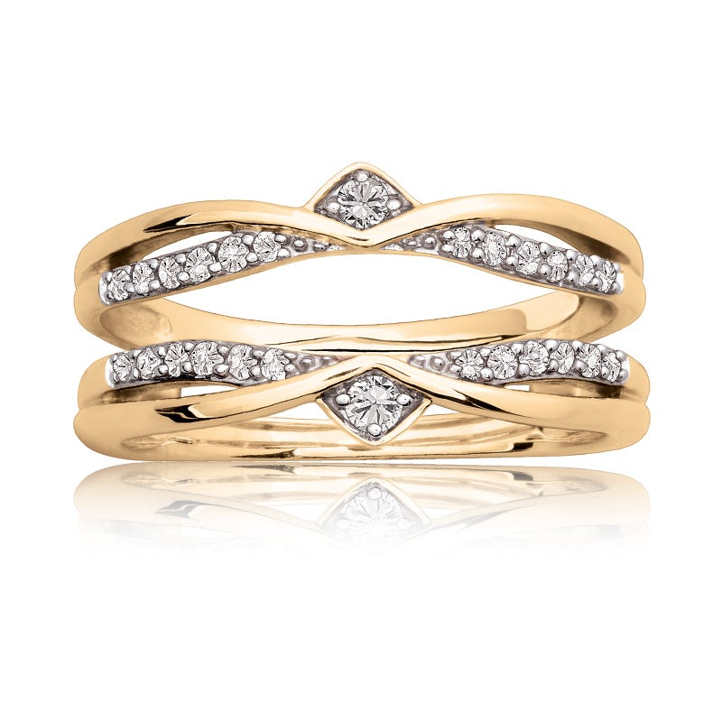 Diamond Ring Enhancer Wrap 1/5ctw in 14k Yellow Gold