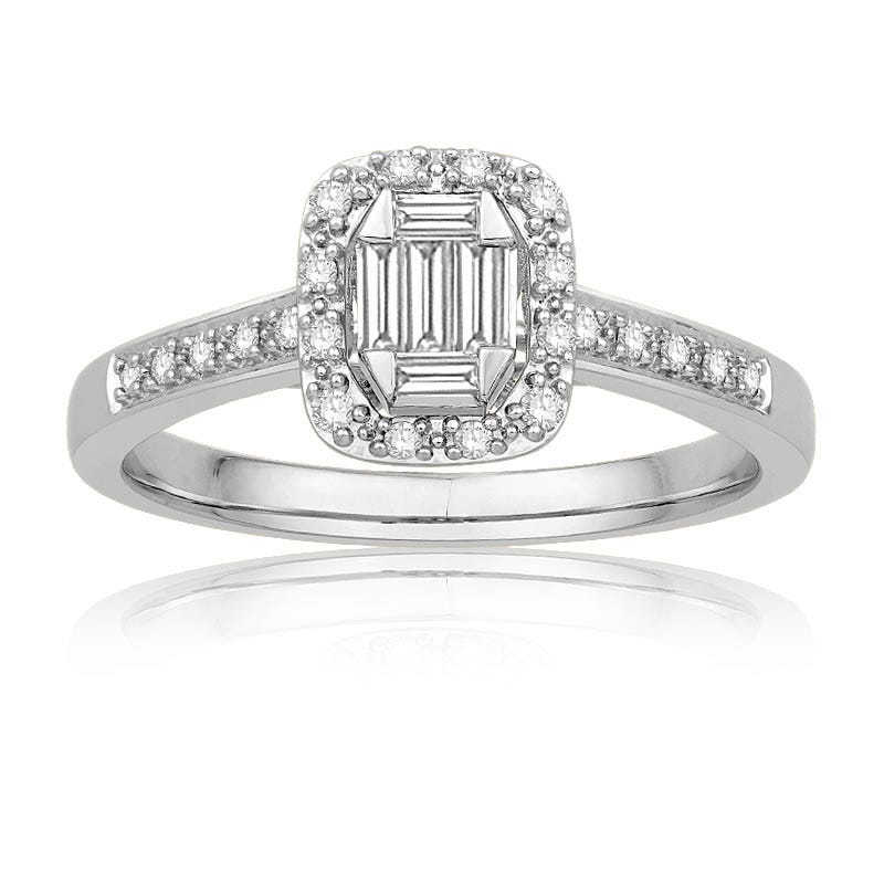Diamond Emerald ¼ct. t.w. Halo Promise Ring in 10k White Gold