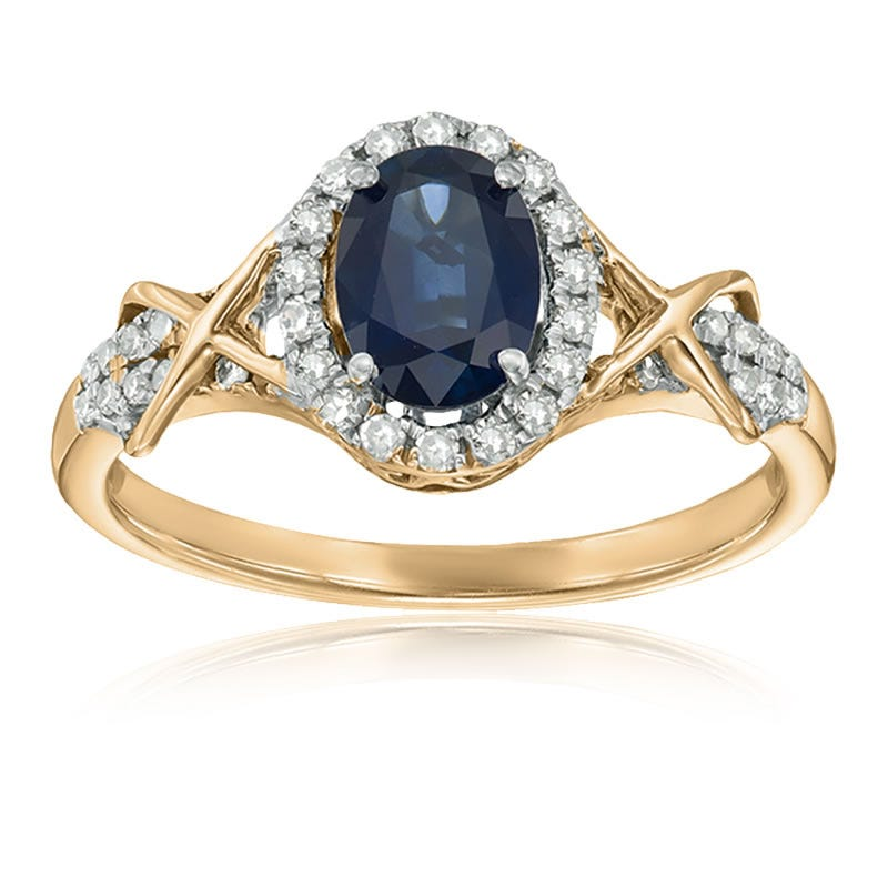 Sapphire & Diamond Halo Ring in 10k Yellow Gold