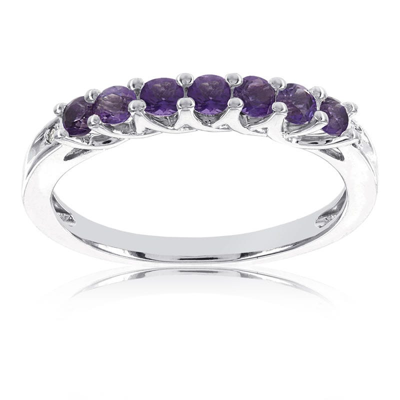 Amethyst Stackable Gemstone Ring in 10k White Gold