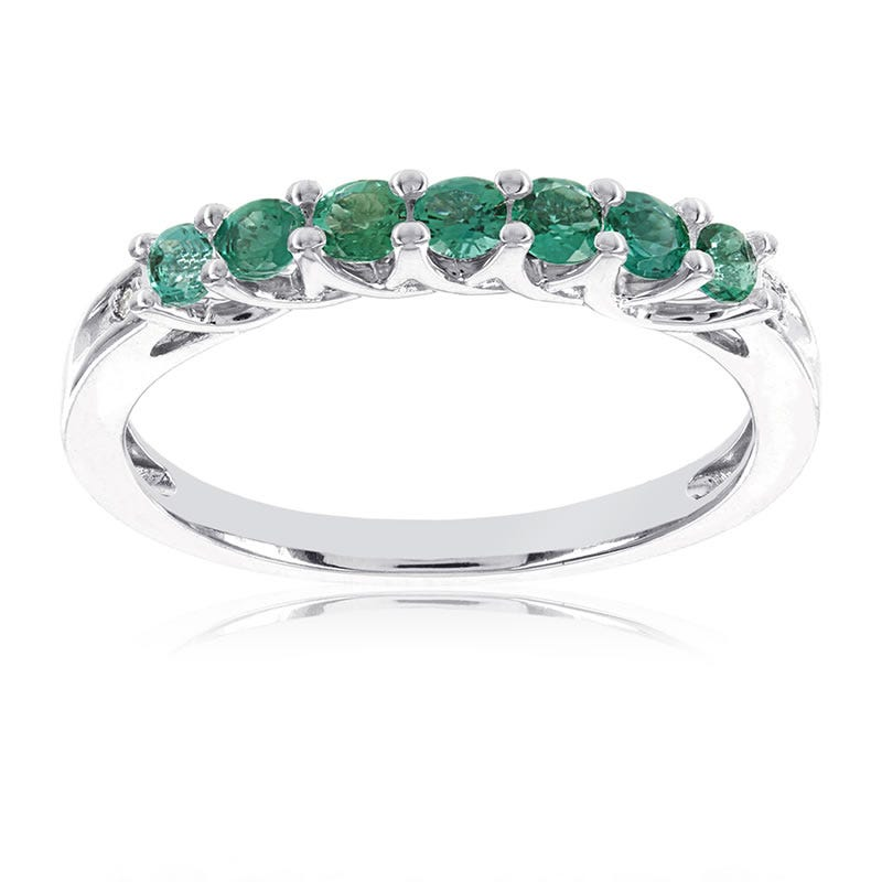 Created Emerald Stackable Gemstone Ring in 10k White Gold