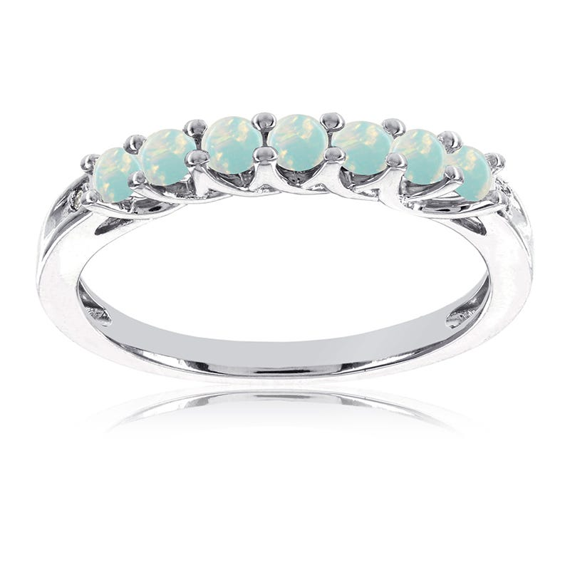 Opal Created Stackable Gemstone Ring in 10k White Gold