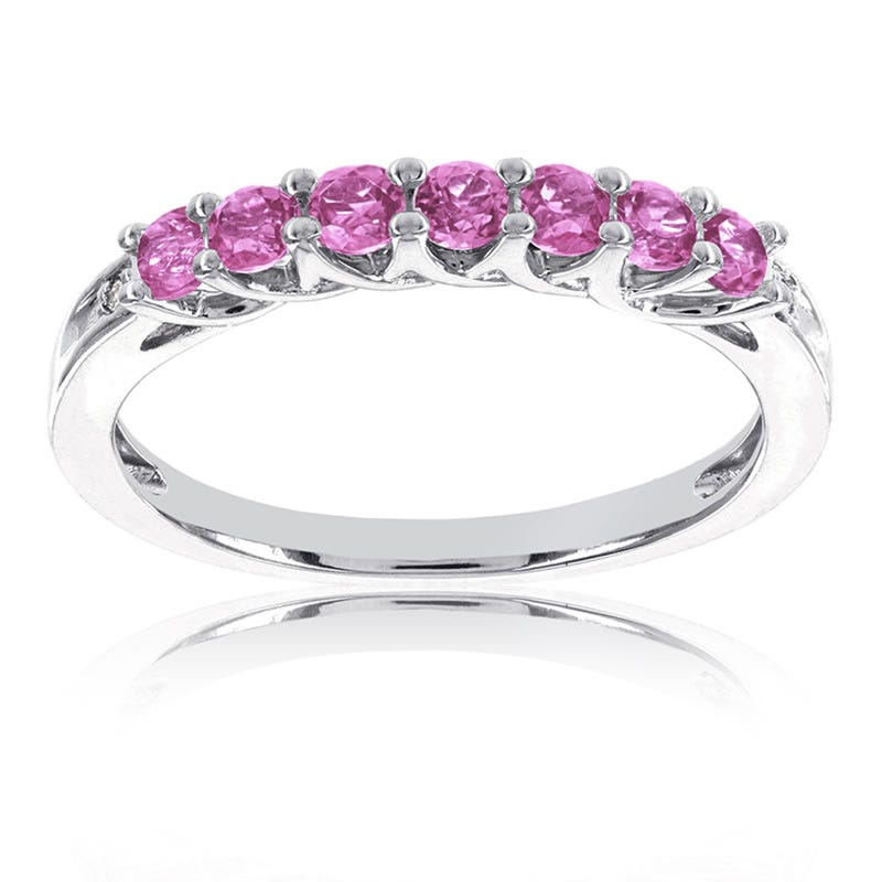 Pink Stackable Gemstone Ring in 10k White Gold