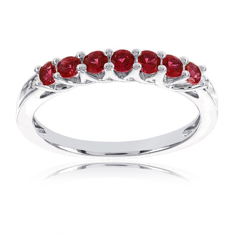 Created Ruby Stackable Gemstone Ring in 10k White Gold