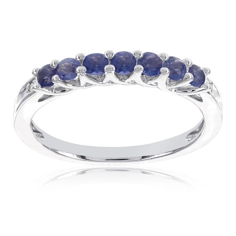 Created Blue Sapphire Stackable Gemstone Ring in 10k White Gold