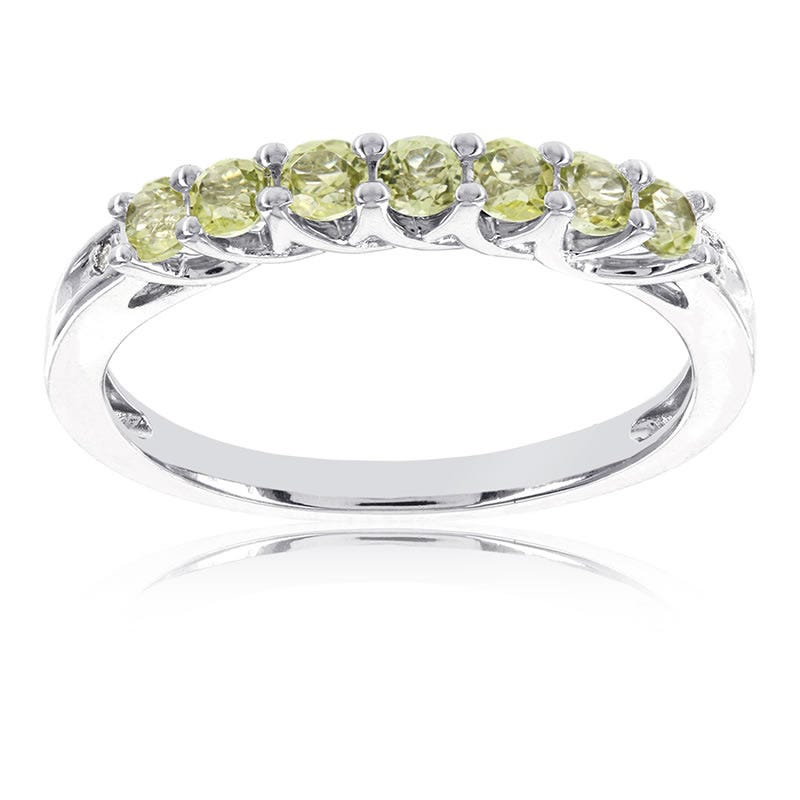 Peridot Stackable Gemstone Ring in 10k White Gold