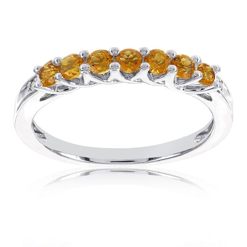 Citrine Stackable Gemstone Ring in 10k White Gold
