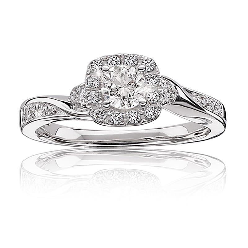 Elizabeth. Diamond Halo Engagement Ring in 14k Gold