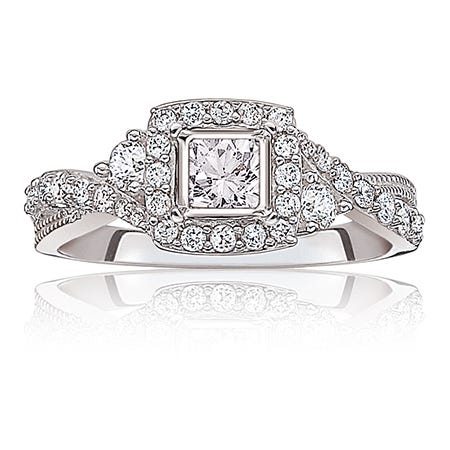 Olivia. Diamond 3/4ctw. Twist Halo Engagement Ring in 14k White Gold