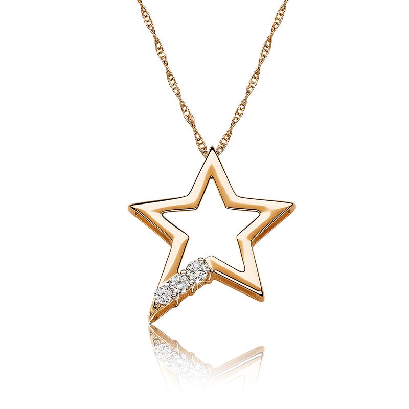 Diamond Open Star Pendant in 10k Yellow Gold