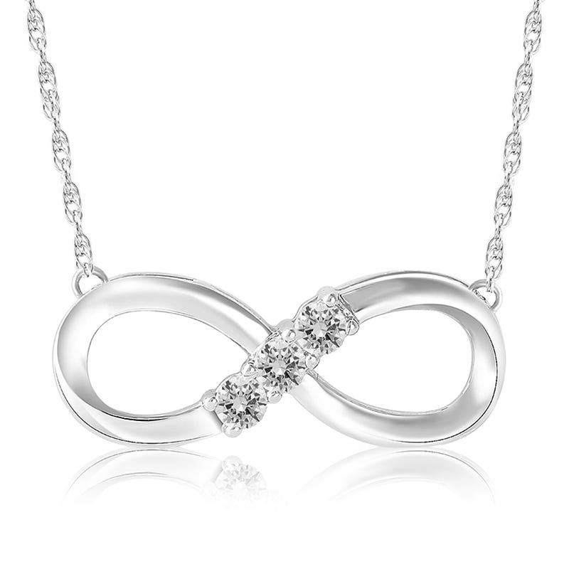 Today, Tomorrow, Forever Diamond Infinity Pendant in 10k White Gold