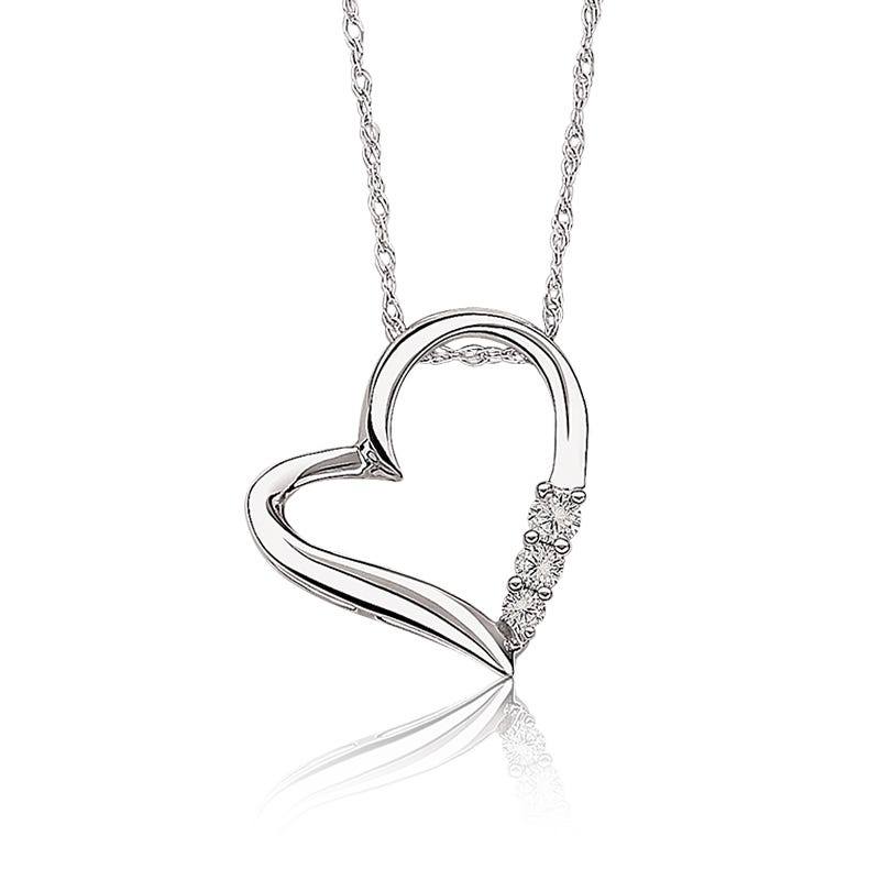 Today, Tomorrow, Forever Diamond Heart Pendant in 10k White Gold