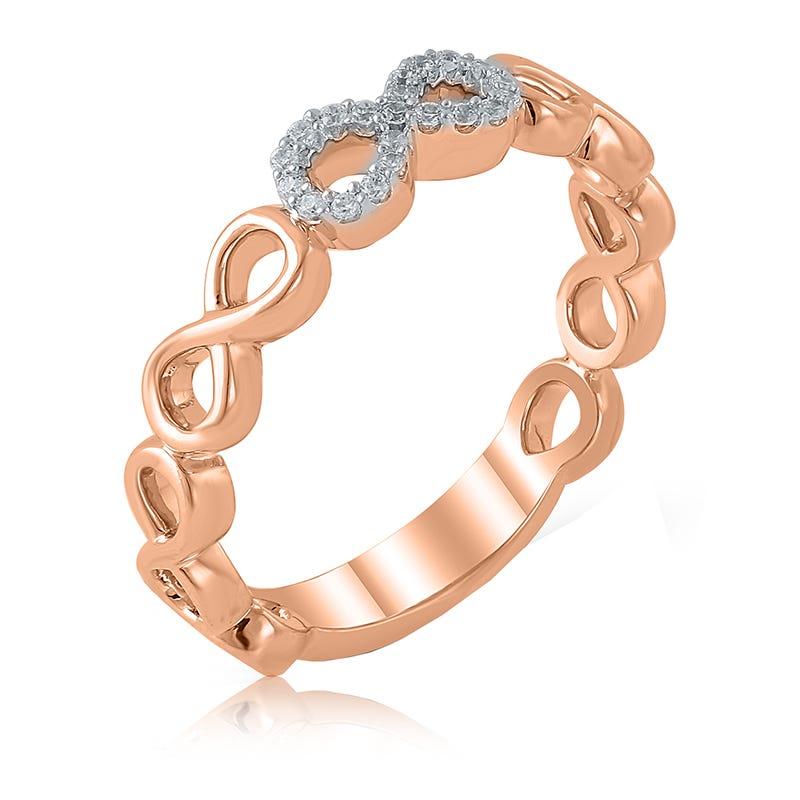 Diamond Infinity Loop Ring in 10k Rose Gold