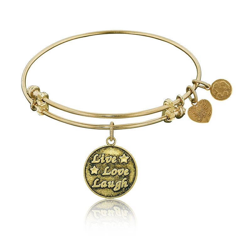 Live, Laugh, Love Charm Bangle Bracelet in Yellow Brass