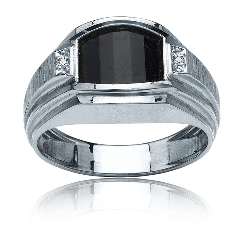 IBGoodman Men's Onyx & Diamond Ring in Sterling Silver