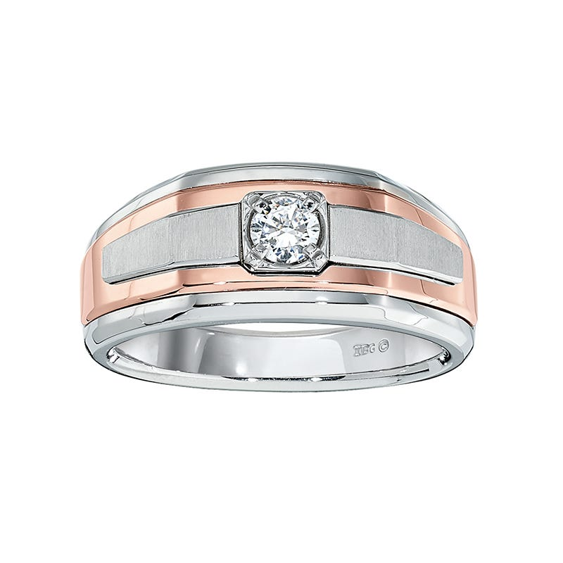 IBGoodman Men's 14k White & Rose Gold Diamond Band