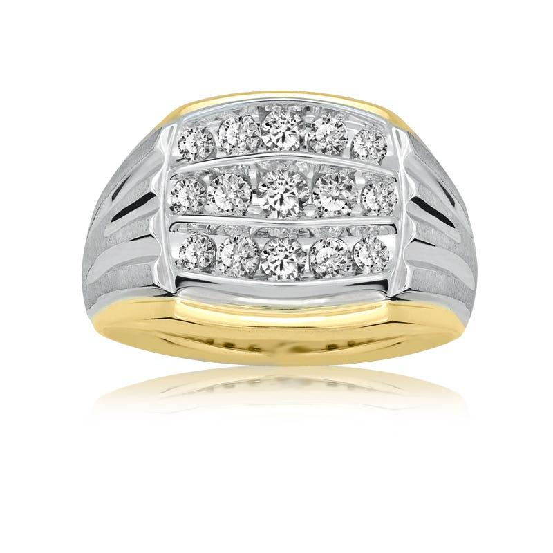 IBGoodman 1ct. Men's 14k White & Yellow Three-Row Diamond Ring