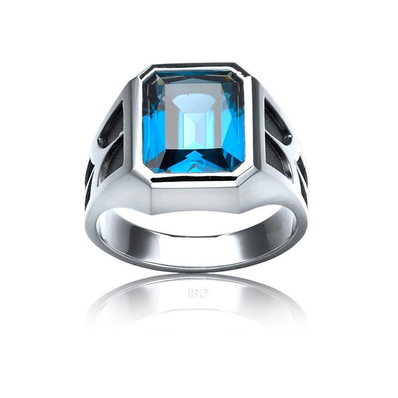 IBGoodman Men's Blue Topaz Ring in Sterling Silver