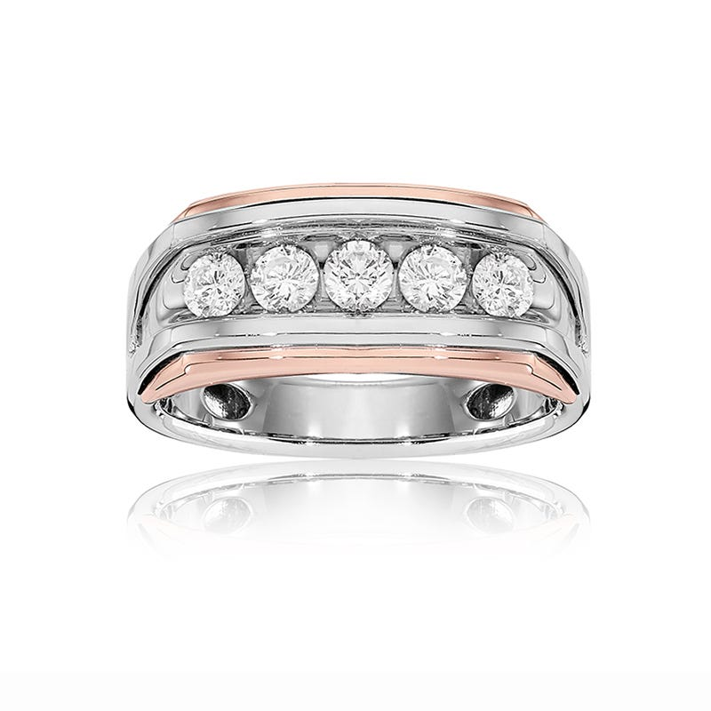 IBGoodman Men's 1ct. Diamond Band in 14k White & Rose Gold