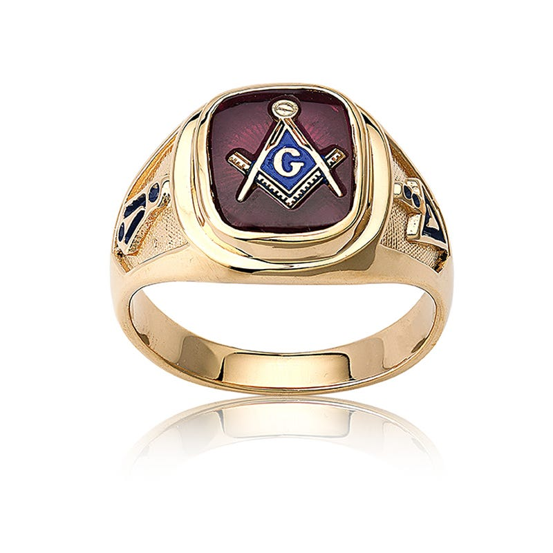 IBGoodman Men's Ruby Masonic Ring in 10k Yellow Gold