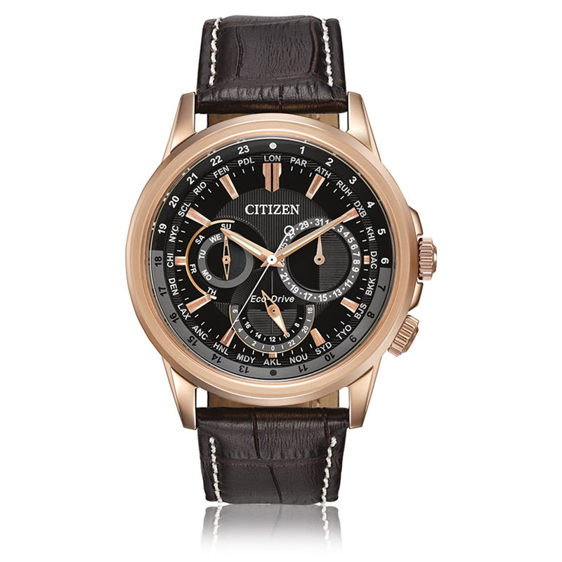 CITIZEN Men's Chronograph World Time Calendrier Watch in Rose Gold BU2023-04E