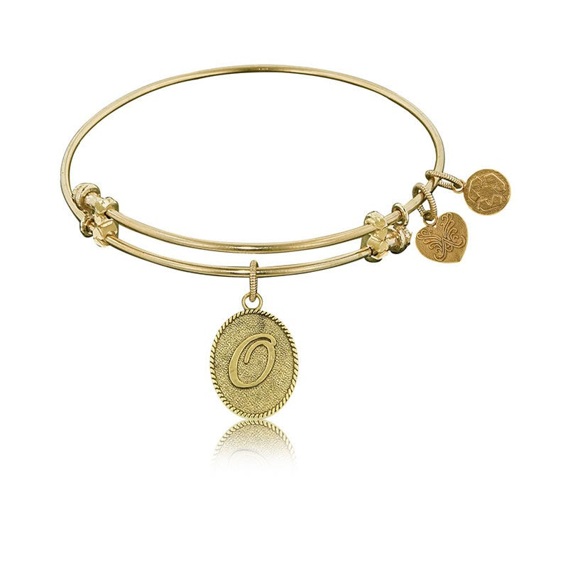 Initial O Charm Bangle Bracelet in Yellow Brass