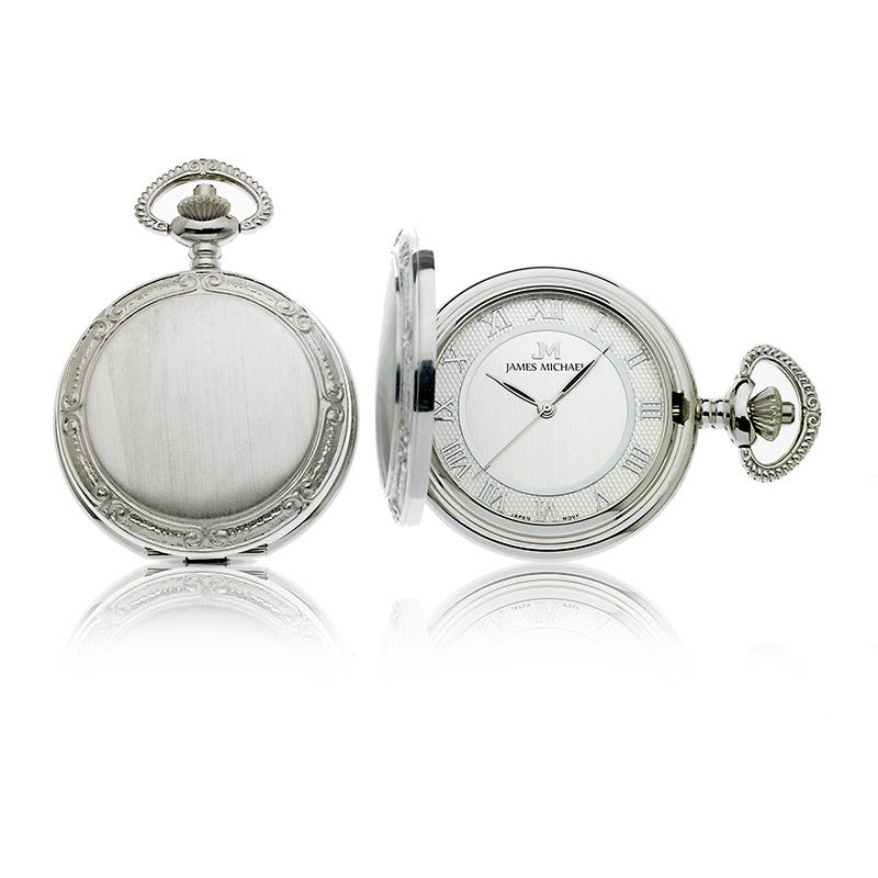 Men's White Satin Photo Insert Pocket Watch
