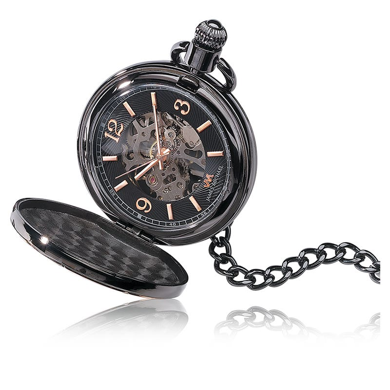Black Metal Pocket Watch with Mechanical Gunmetal & Rose Markers