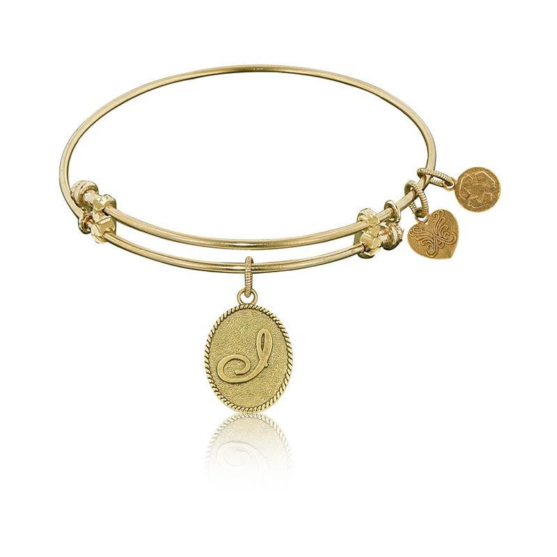 Initial I Charm Bangle Bracelet in Yellow Brass