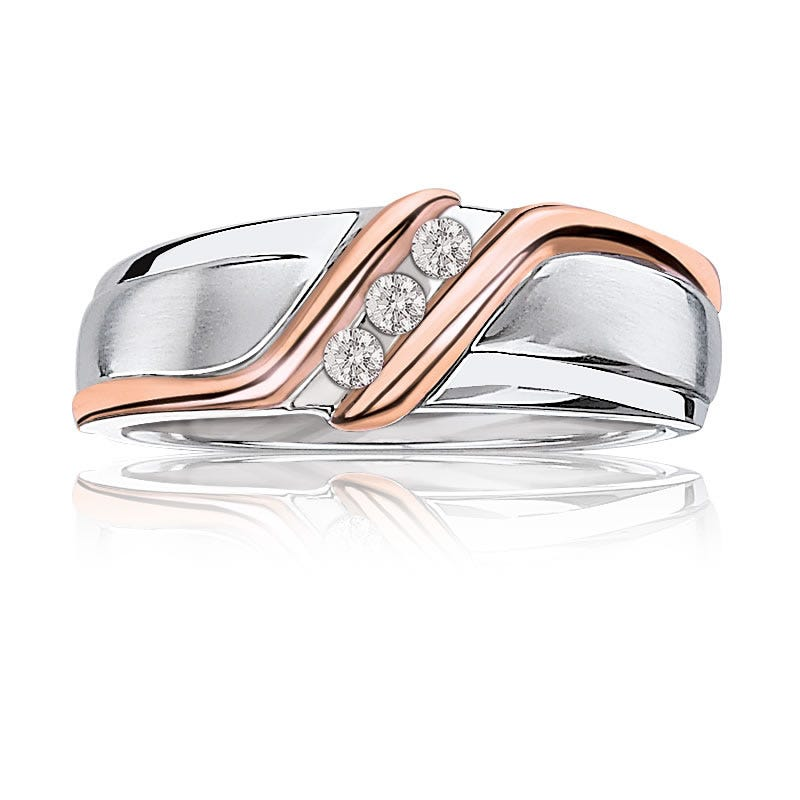 Men's Three-Stone Diamond Wedding Band in 10k White & Rose Gold