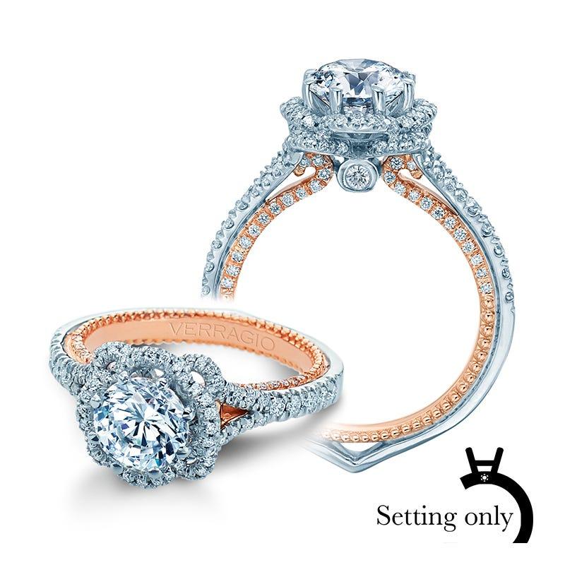 Verragio Couture Brilliant Diamond Halo Engagement Ring Setting 0444-2WR