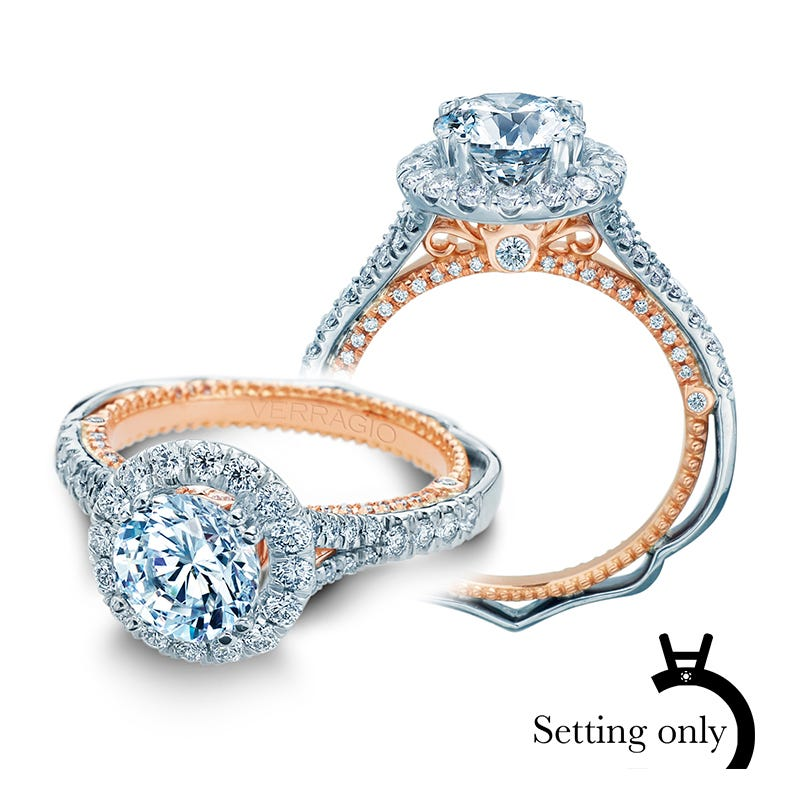 Verragio Venetian Brilliant Round Diamond Halo Engagement Ring Setting 5071R