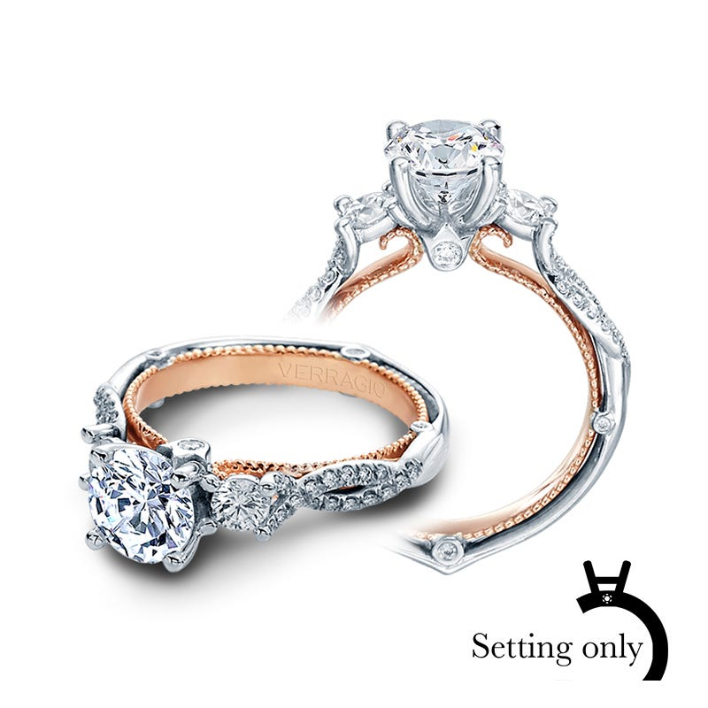 Verragio Couture Round 3-Stone Diamond Engagement Ring Setting 0423R