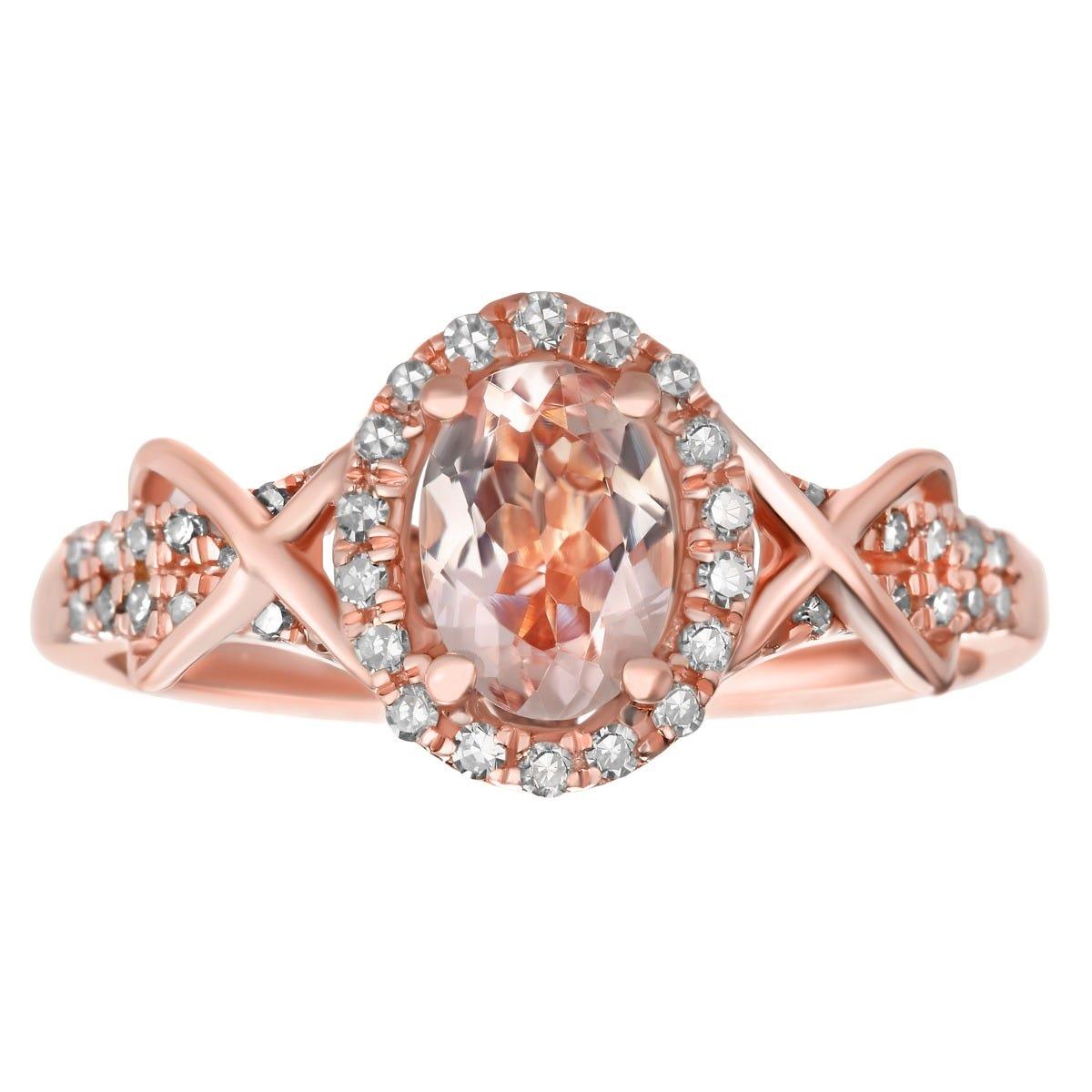 Morganite Oval & Diamond Halo Ring in 10k Rose Gold