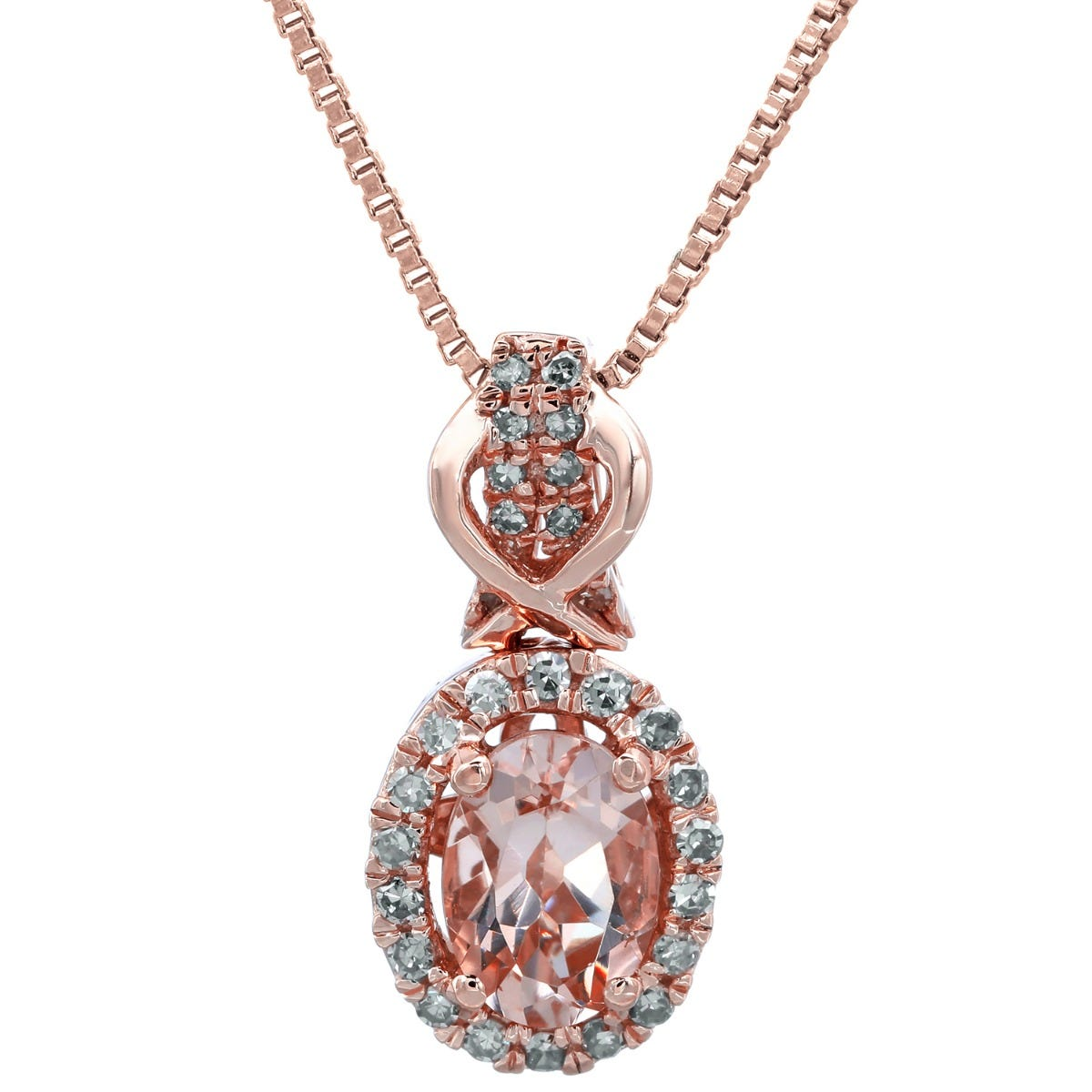 Morganite Oval & Diamond Halo Pendant in 10k Rose Gold