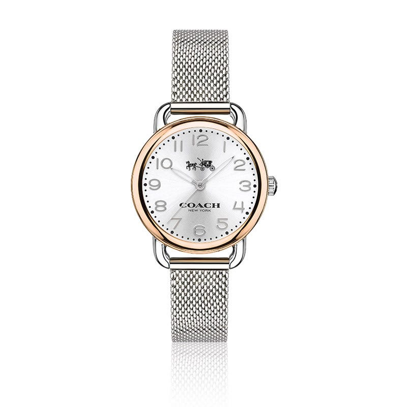 COACH Delancey Small Two-Tone Mesh Bracelet Watch