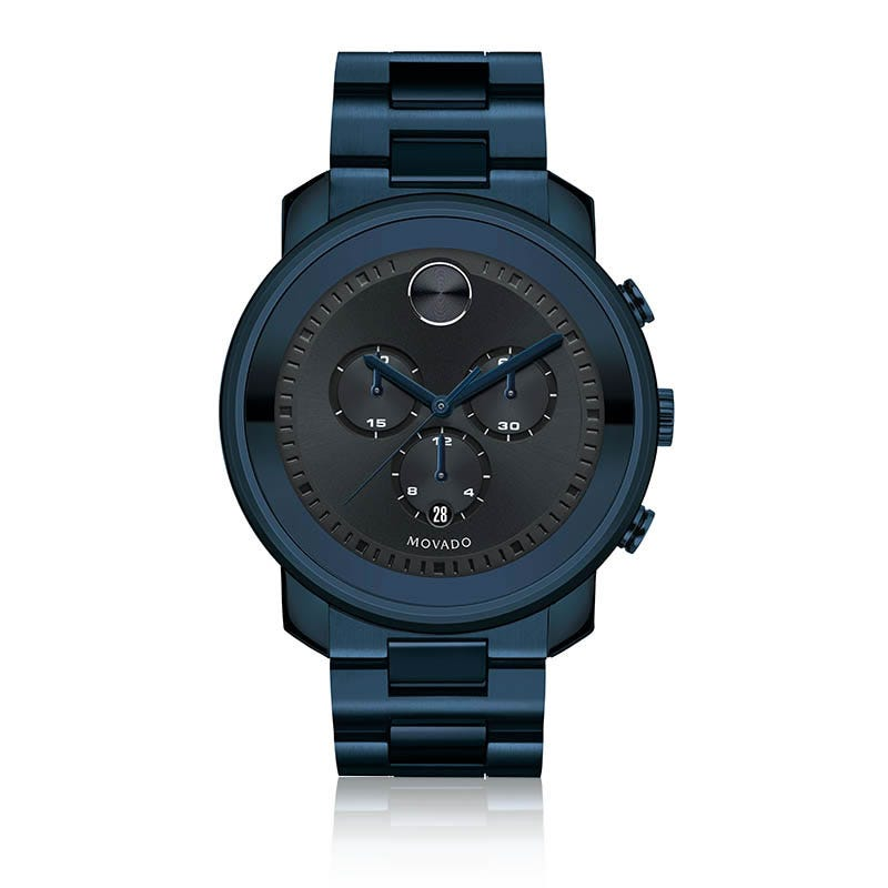 Large Movado BOLD Men's Chronograph Navy Blue Stainless Steel Watch 3600279