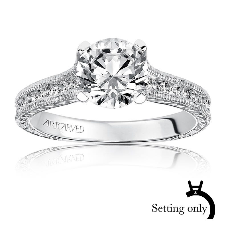 Zoya. ArtCarved Diamond Engagement Ring Setting in 14k White Gold