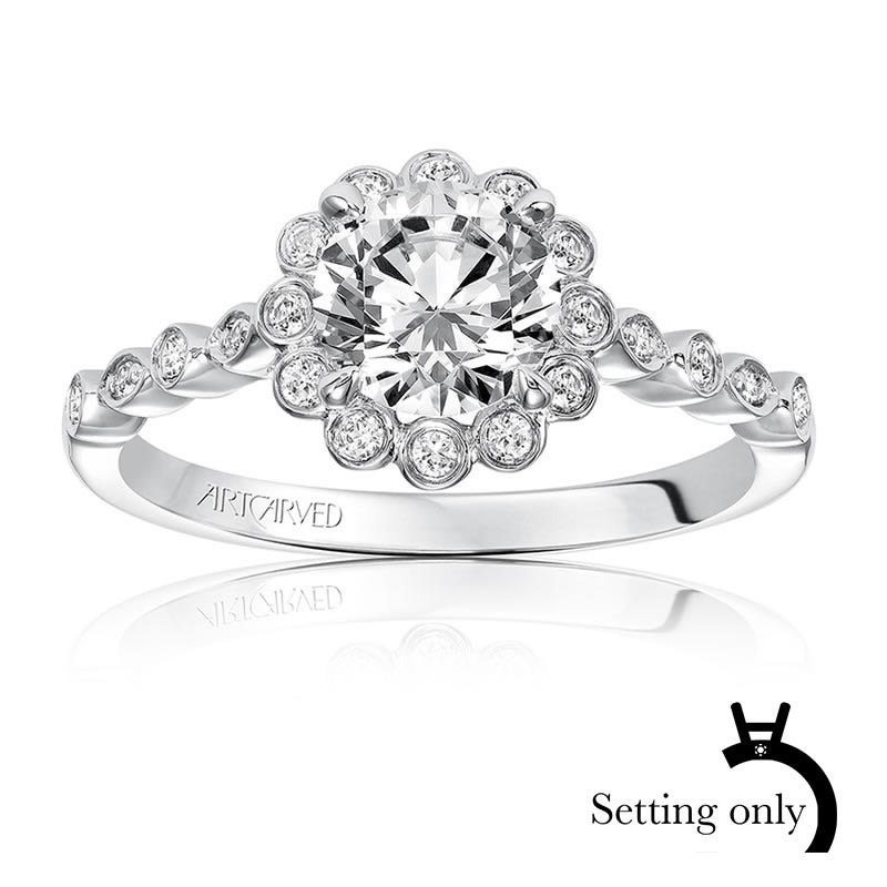 Pia. ArtCarved Vintage Inspired Diamond Semi-Mount 14k White Gold