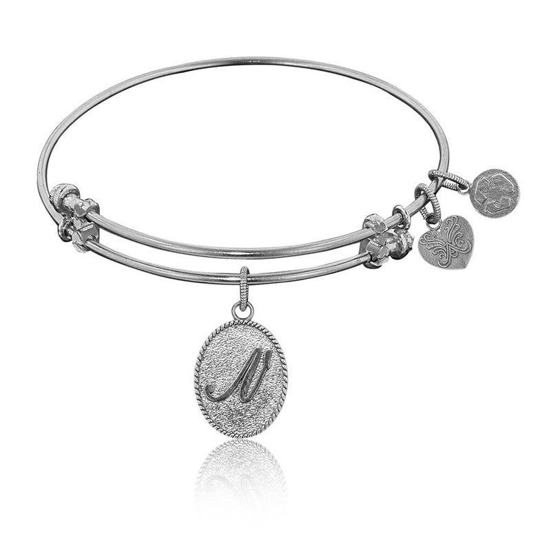 Initial N Charm Bangle Bracelet in White Brass