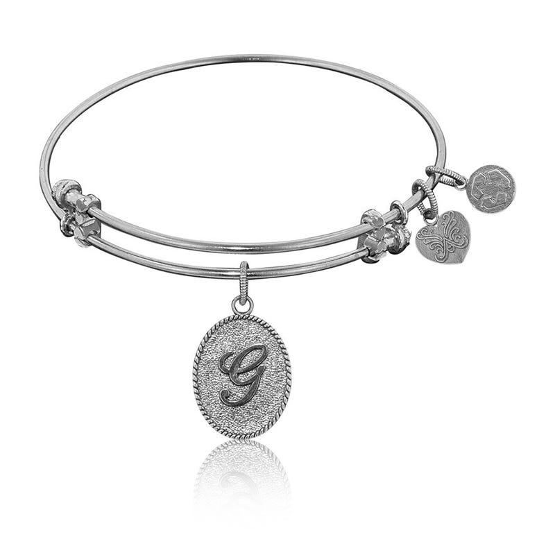 Initial G Charm Bangle Bracelet in White Brass