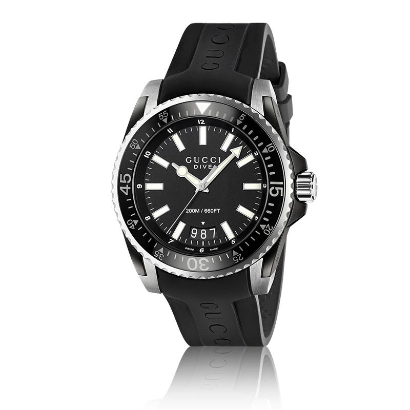 ee970d2d57d GUCCI Dive Black Rubber Strap Watch